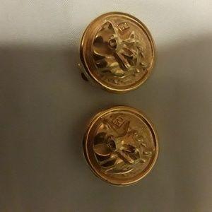 Fendi gold colored zodiac (taurus)clip on earrings